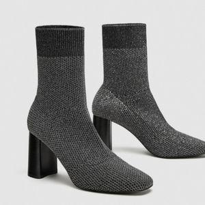 Zara Shimmer High Heel Sock Boots Size 7